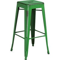 Flash Furniture ET-BT3503-30-GN-GG Distressed Green Stackable Metal Bar Height Stool with Drain Hole Seat