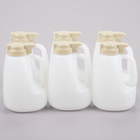 Tablecraft MW64BE 64 oz. Option Dispenser with Beige Top - 6/Pack