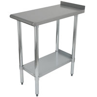 Advance Tabco FTS-3018 18 inch x 30 inch 18 Gauge 430 Stainless Steel Filler Table with Backsplash and Stainless Steel Undershelf