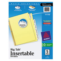 Avery AVE11110 Big Tab Buff Paper 5-Tab Clear Insertable Dividers