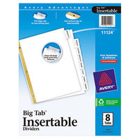 Avery AVE11124 Big Tab White Paper 8-Tab Clear Insertable Dividers