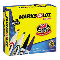 Avery AVE29870 Marks-A-Lot® 24 Count Assorted Chisel and Bullet Tip Desk and Pen Style Dry Erase Marker Value Pack
