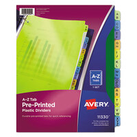 Avery AVE11330 Pre-Printed 12-Tab Multi-Color A-Z Plastic Dividers