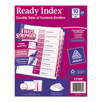 Avery AVE11169 Ready Index 10-Tab Multi-Color Table of Contents Divider Set - 24/Box