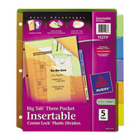 Avery AVE11273 Big Tab 3-Pocket 5-Tab Multi-Color Plastic Insertable Tab Dividers