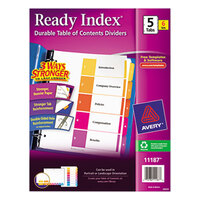 Avery AVE11187 Ready Index 5-Tab Multi-Color Table of Contents Divider Set - 6/Pack