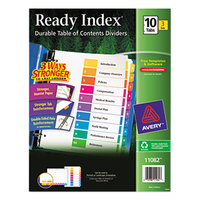Avery AVE11082 EcoFriendly Ready Index 10-Tab Multi-Color Table of Contents Divider Set - 3/Pack