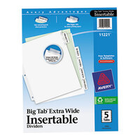Avery AVE11221 Big Tab Extra Wide 5-Tab Clear Insertable Tab Dividers