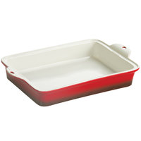 Lodge STW13RCT43 9 inch x 13 inch Red Stoneware Baking Dish