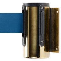 Brass Wall-Mount Stanchion with 7' Blue Retractable Belt