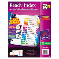 Avery AVE11197 Ready Index 15-Tab Multi-Color Table of Contents Divider Set - 6/Pack