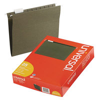 Universal UNV14115 11 inch x 8 1/2 inch Standard Green Hanging File Folder with 1/5 Cut Tab, Letter - 25/Box