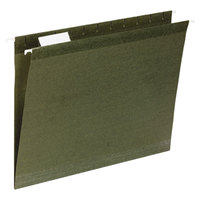 Universal UNV24113 11 inch x 8 1/2 inch Standard Green Reinforced Hanging Folder with 1/3 Cut Tab, Letter - 25/Box
