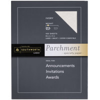 Southworth SOUP984CK336 8 1/2 inch x 11 inch Ivory 24# Parchment Specialty Paper - 100/Pack