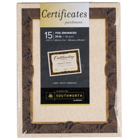 Southworth SOU98868 8 1/2 inch x 11 inch Ivory Foil-Enhanced 24# Parchment Certificate Paper with Gold Foil - 15/Pack