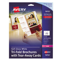 Avery AVE16152 8 1/2 inch x 11 inch Soft Gloss Printable Tri-Fold Brochure with Tear-Away Cards - 50/Pack