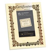 Southworth SOU98867 8 1/2 inch x 11 inch Ivory Foil-Enhanced 24# Parchment Certificate Paper with Bronze Foil - 15/Pack