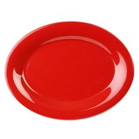 9 1/2 inch x 7 1/4 inch Oval Pure Red Platter - 12/Pack