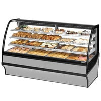 True TDM-DC-77-GE/GE 77 inch Stainless Steel Curved Glass Dry Bakery Display Case