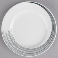 Syracuse China 927659372 Silk Tracer 6 1/4 inch Round Royal Rideau White Wide Rim Porcelain Plate - 36/Case