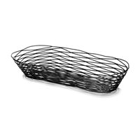 Tablecraft BK11709 Artisan Oblong Black Wire Basket - 9 inch x 4 inch x 2 inch