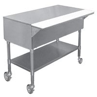 APW PWT-5 22 1/2 inch x 79 inch Mobile Stainless Steel Work-Top Counter with Cutting Board and Galvanized Undershelf