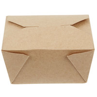 Choice 5 inch x 4 inch x 3 inch Kraft Microwavable Folded Paper #1 Take-Out Container - 50/Pack