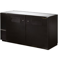 True TBB-24GAL-60 60 inch Black Narrow Under Bar Refrigerator with Galvanized Top and Two Solid Doors