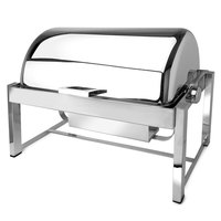 Eastern Tabletop 3144 P2 8 Qt. Rectangular Stainless Steel Roll Top Induction Chafer