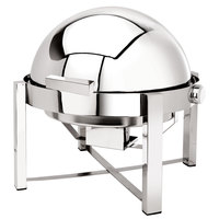 Eastern Tabletop 3148 P2 8 Qt. Round Stainless Steel Roll Top Induction Chafer