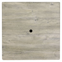 Grosfillex 99871071 36 inch Square White Oak Outdoor Molded Melamine Table Top with Umbrella Hole