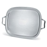 Vollrath 82122 Elegant Reflections Stainless Steel Oblong Serving Tray with Handles - 18 inch x 14 inch