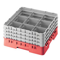 Cambro 9S1114163 Red Camrack 9 Compartment 11 3/4 inch Glass Rack