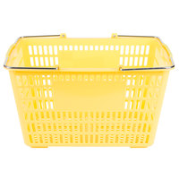 Yellow 17 1/4 inch x 11 inch Plastic Grocery Market Shopping Basket