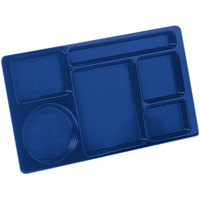 Carlisle 61514 Space Saver 8 3/4 inch x 15 inch Blue ABS Plastic 6 Compartment Tray