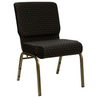 Black Dot Patterned 21 inch Extra Wide Church Chair with Gold Vein Frame