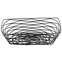 Tablecraft BK17209 Artisan Rectangular Black Wire Basket - 9 inch x 6 inch x 2 1/2 inch