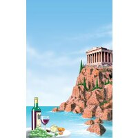8 1/2 inch x 14 inch Menu Paper Cover - Mediterranean Themed Parthenon Design - 100/Pack