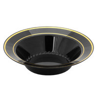 Fineline Silver Splendor 512-BKG Black 12 oz. Plastic Soup Bowl with Gold Bands - 15 / Pack