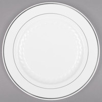 Fineline Silver Splendor 509-WH 9 inch White Plastic Plate with Silver Bands - 12/Pack