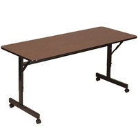 Correll EconoLine FT2472M 24 inch x 72 inch Walnut Melamine Top Mobile Flip Top Adjustable Height Table