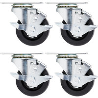 Beverage Air 00C28S110A-- 3 inch Plate Casters - 4 / Set
