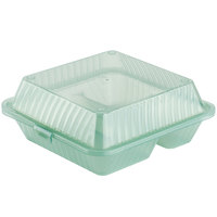 Jade Green GET EC-09 3-Compartment Reusable Eco-Takeouts Containers 9 inch x 9 inch x 3 1/2 inch 12 / Case