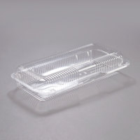 Dart Solo PET90UT1 StayLock 13 3/8 inch x 6 3/4 inch x 2 5/8 inch Clear Hinged PET Plastic 13 inch Strudel Container   - 200/Case
