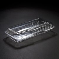 Dart Solo PET90UT1 StayLock 13 3/8 inch x 6 3/4 inch x 2 5/8 inch Clear Hinged PET Plastic 13 inch Strudel Container - 200 / Case