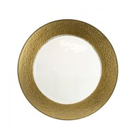 10 Strawberry Street HAL-GLD340 13 inch Colored Rim Gold Rim Glass Charger Plate