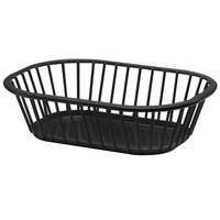 Tablecraft 1088BK Black 10 inch x 7 inch x 3 inch Spoke Plastic Fast Food Basket 12 / Pack