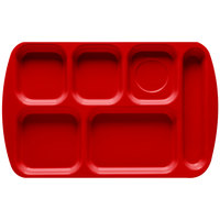 GET TR-151 Red Melamine 10 inch x 15 1/2 inch Right Hand 6 Compartment Tray - 12 / Pack