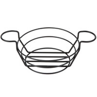 American Metalcraft BSKB80 Black Round Wire Basket with Ramekin Holders - 8 inch x 3 1/4 inch