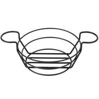 American Metalcraft BSKB80 Black Round Wire Basket with Ramekin Holders - 8 inch x 3 3/4 inch